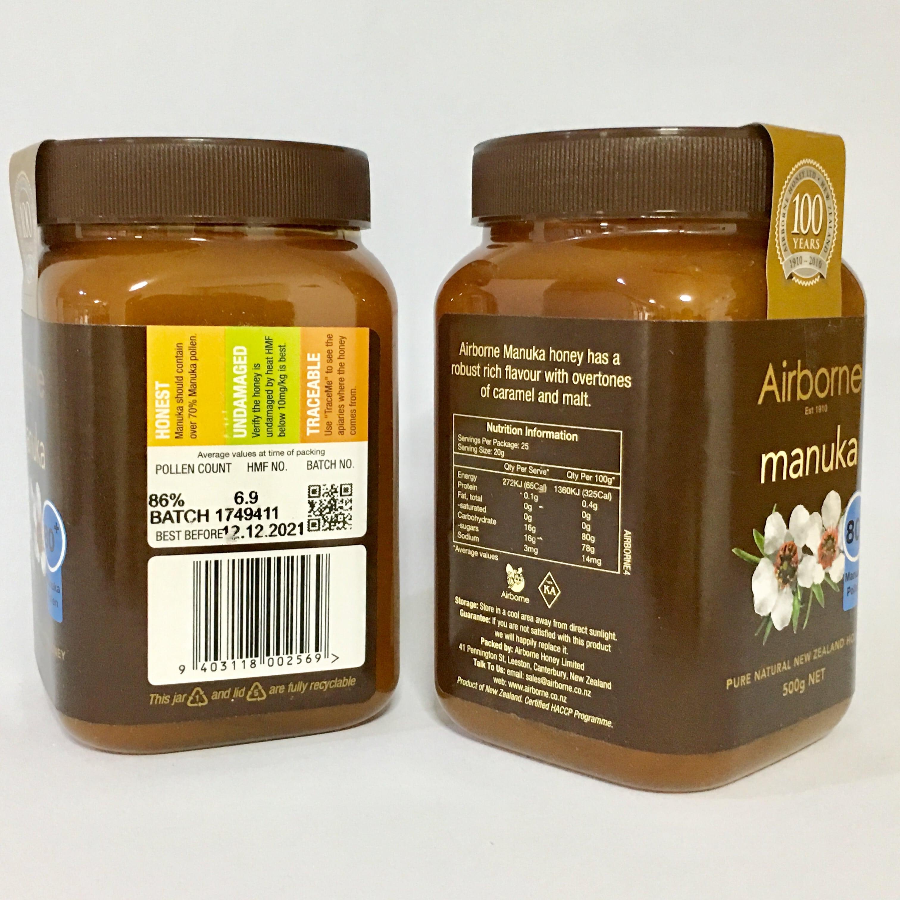 แอร์บอร์น น้ำผึ้งมานูก้า แอคทีฟ 80+ ขนาด 500 g.