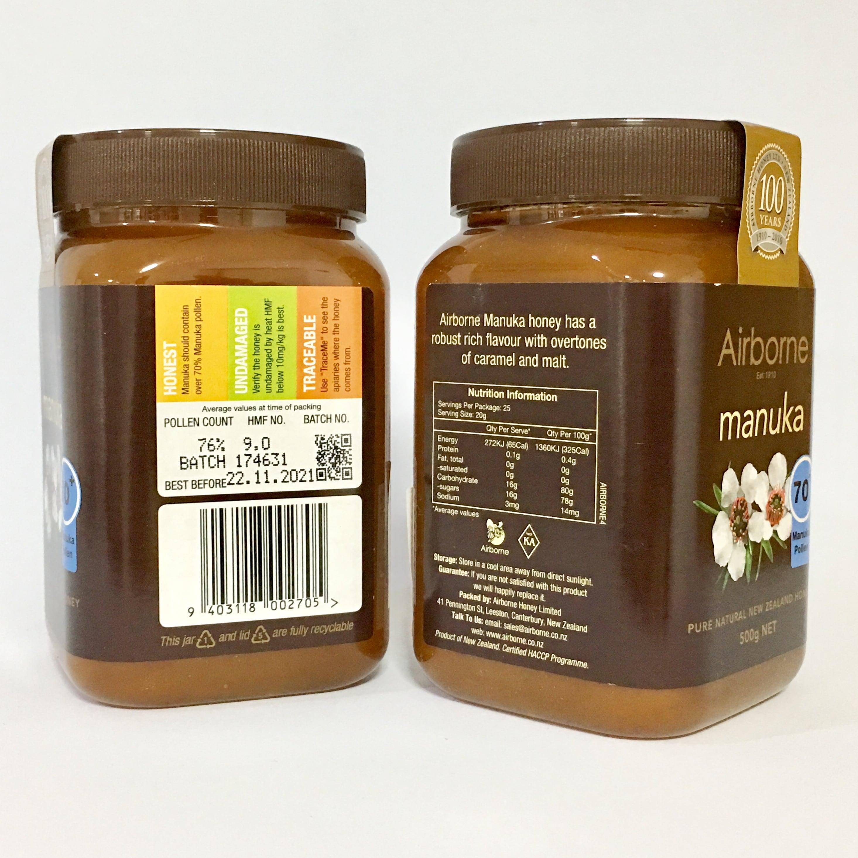 แอร์บอร์น น้ำผึ้งมานูก้า แอคทีฟ 70+ ขนาด 500 g.