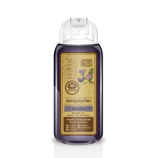 เขาค้อทะเลภู แชมพูสมุนไพร อัญชัน 200 ml. Butterfly Pea Shampoo - Healthy Black Shine ผมดกดำ เงางาม สุขภาพดี