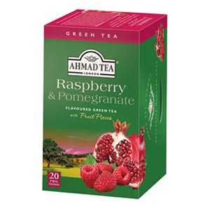 Raspberry & Pomegranate Green Tea ชาเขียวผสมผลไม้ - ราสเบอร์รี่และทับทิม Green Tea with Real Fruit (20 foil teabags)