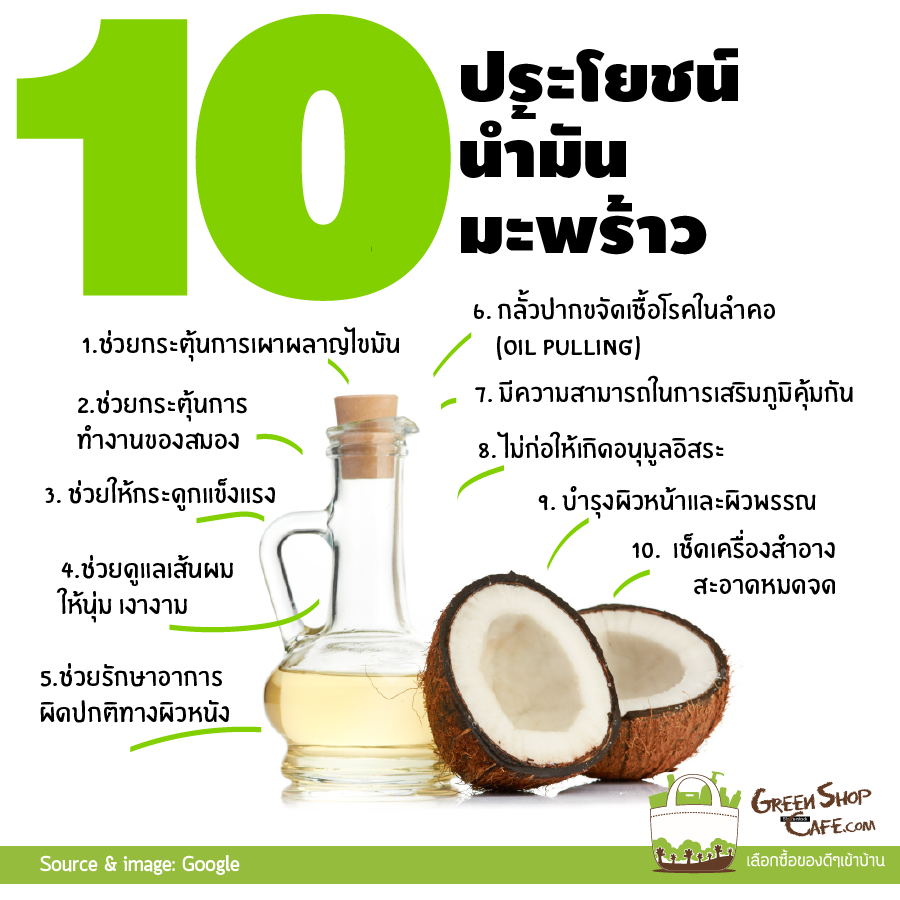 10 ประโยชน์ของน้ำมันมะพร้าว