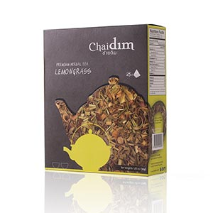 ชาสมุนไพรตะไคร้  Chaidim Organic Lemongrass Herbal Tea | 25 teabags | Caffeine Free Ahmad Tea London
